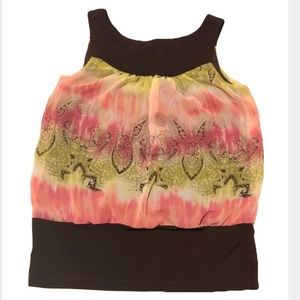 4/$25 Byline | Pink and Brown Blouse Tank Med EUC
